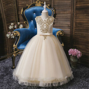 Little Girls Birthday Party Long Dress Wedding Bridesmaid Dresses Christening