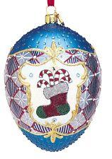 Reed & Barton Blown Glass Happy Holidays Egg Ornament C3094 NIB