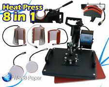 8 IN 1 Swing-Away Heat Press Machine Sublimation T-Shirt Mug Cap Hat Cup Plate