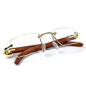 Hip Hop Rimless Wood Gold Frame Retro Vintage Hip Hop Mens Clear Lens Glasses