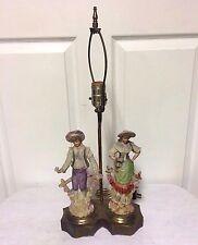 Vintage 1940s CORDEY  Victorian Porcelain MAN & WOMAN Figurine Table Lamp - NICE