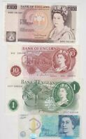 FOUR £10 SOMERSET/£5 CLELAND/£1 PAGE & 10/- HOLLOM NOTES IN NEAR MINT CONDITION