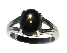 Black Star Sapphire Natural genuine Gemstone set in Sterling Silver Ring.RSS612