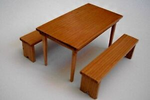 Handmade Dollhouse Miniature Wood Table and Benches - Maple Finish