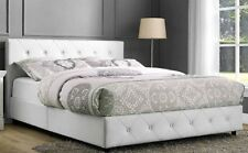 DHP White Faux Leather Button tufted Queen Platform Bed frame with Headboard NEW