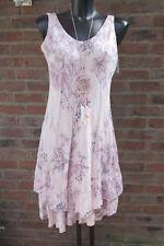 Knielang Kleid Trägerkleid Hippie Rosa Volant Ornamente 36-38-40 Lagenlook