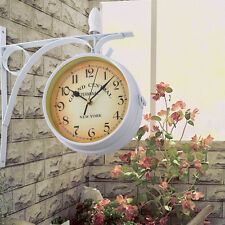 Home Garden Station Wall Clock Outside Bracket Double Sided Outdoors Indoors DIY