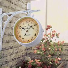 Maison jardin extérieur gare horloge de mur extérieur support recto-verso
