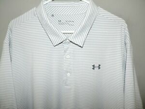 Under Armour Mens Heat Gear Loose Big & Tall Gray Stripe Golf Polo Shirt 3XL