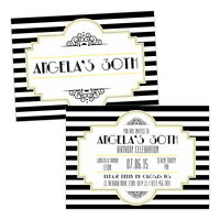 Personalised birthday party invitations BLACK WHITE 1920'S ART DECO FREE ENVELOP