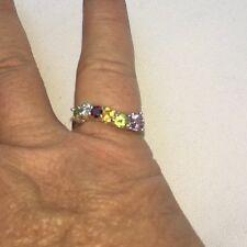 $399 Genuine Amethyst Citrine Peridot Garnet Topaz Sterling Silver Ring 9