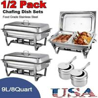 1/2 Pack Full Size Chafing Dish Stainless Steel Double Grid Chafer Buffet Pan US