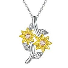 Friendship Sunflower Necklace Silver You Are My Sunshine Necklace Gift for Girls