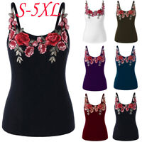 Women Summer Sleeveless Cami Tops Tunic Vest Floral Embroidered Chic Blouse 8-22