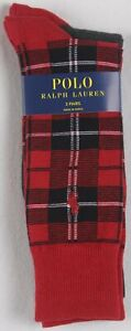 Polo Ralph Lauren 2 Pairs Dress Socks Red Black Plaid NWT