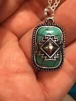 Native American Navajo Turquoise Pendant Charm Silver D-769