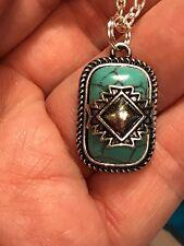 Native American Cherokee Symbol Turquoise Howlite Pendant Charm Silver D-769