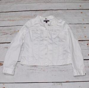 tommy hilfiger Ladies White denim jacket Size Large Armpit To Armpit Is 50cm