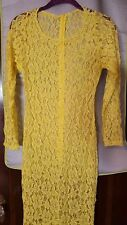 Yellow Lace See Thru Mermaid Dress with Rhinestones, Size L (M), Pre-Owned