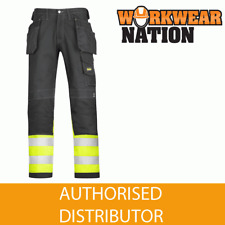 Snickers 3235 Hi-Vis Holster Pocket Class 1 Cotton Trousers - SALE PRICE