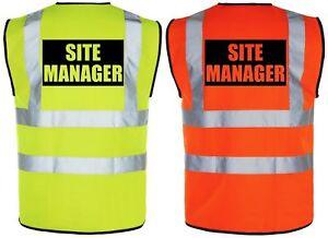 SITE MANAGER Hi-Vis High-Viz Visibility Safety Vest/Waistcoat Yellow/Orange