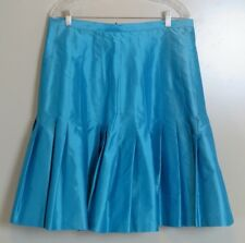 NWT Marisa Baratelli Turquoise 100% Silk Pleated Full Skirt Size 18 MSRP $529