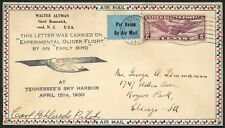 #C12 ON 1930 APRIL 15TH EXPERIMENTAL GLIDER FLIGHT COVER SIGNED BY PILOT BT9862