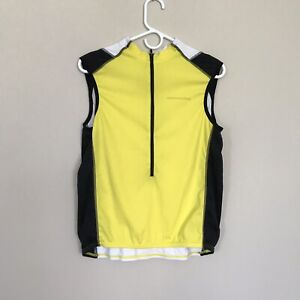 CANNONDALE WOMEN'S SLEEVELESS CYCLING SHIRT in YELLOW/BLACK ½ ZIP Size L