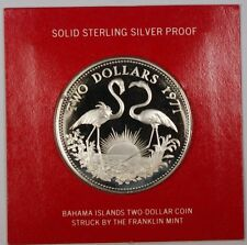 1971 Bahamas $2 Sterling Silver Proof Flamingo Coin with Box