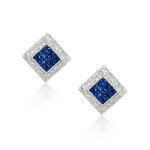 18k White Gold 1.5ctw Diamond With Blue Stones Square Earrings