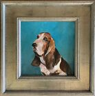 Framed 10x10 Oil Painting of a Dog