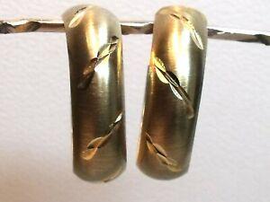 Vintage 9ct Gold Diamond Cut Hoop Earrings Not Scrap