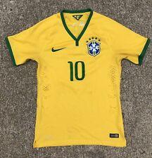 Rare 2014 Nike Gold Logo Authentic Brazil Pele 10 Jersey Size Small