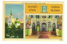 Sitka, Alaska  Famous Russian Church  2 views linen type used postcard