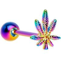 14G RAINBOW POT LEAF MARIJUANA SURGICAL STEEL TONGUE RING BODY PIERCING BARBELL