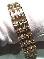 Antique Vintage Real Golden Topaz 925 Sterling Silver Rhodium Deco Bracelet