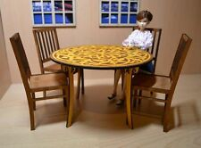Table for Dolls + 4 chairs . 1/6 dollhouse furniture
