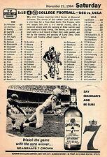 1964 Tv Football Ad ~ USC TROJANS vs UCLA BRUINS~Mike Garrett~Larry Zeno