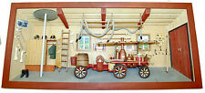 Large German old fashion wooden 3-D picture Diorama FIREHOUSE FIREMAN FEUERWEHR