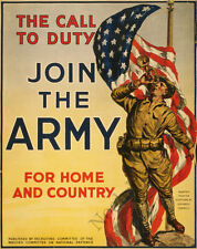 Join The Army vintage recruitment poster repro 16x20