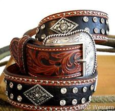 Nocona Western Mens Belt Leather Diamond Conchos Black Brown N2493667