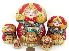RED GOLD MUSHROOMS Matryoshka Russian Nesting Dolls 5 MAMAYEVA signed Pyrography