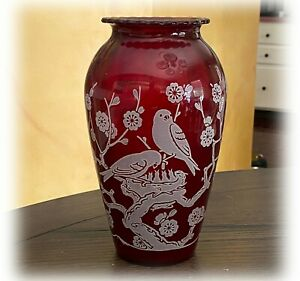 "Anchor Hocking Royal Ruby 9"" Vase White Fired On Birds with Babies in Dogwood"