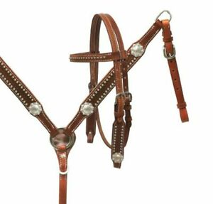 Western Pony Size Horse Bridle + Breast Collar Leather Tack Set w/Silver Conchos