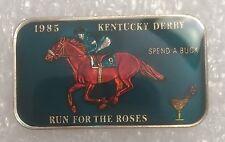 Kentucky Derby 1985 SPEND A BUCK Enamel 1 Troy Oz 999 SILVER ART BAR Mintage 176