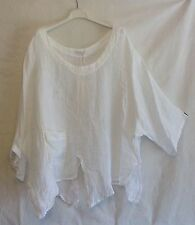 NEW ITALIAN LAGENLOOK BOHO LAYERING SLASH QUIRKY LINEN POCKET TOP ONE SIZE 56""