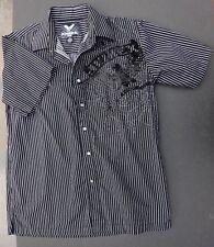 Avirex Button Down Front CasuShirt Long Sleeve Black White Stripe Mens XL