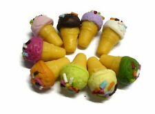 10 Loose Colorful Ice Cream Cone Dollhouse Miniatures Food Bakery Deco