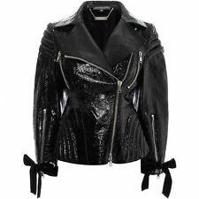 NEW Authentic Alexander McQueen Ivy Embossed Black Patent Leather Biker Jacket S