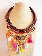 Colourful Tube Gold Fabric Tassel Tribal Multi Coloured Bohemian Necklace